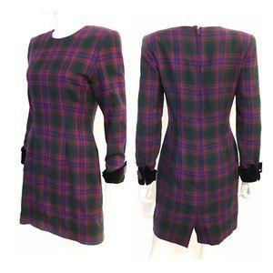 VTG 80s STEVEN STOLMAN purple plaid wool dress